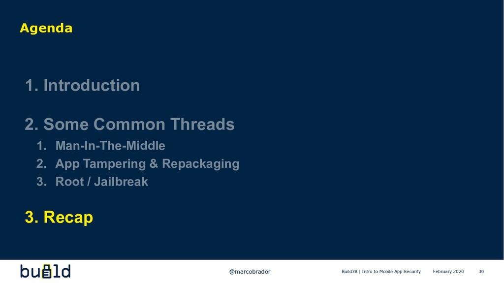 30 Agenda 1. Introduction 2. Some Common Thread...