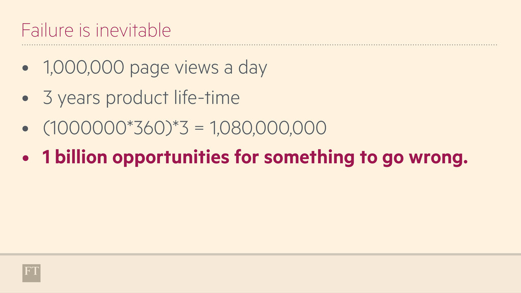 Failure is inevitable • 1,000,000 page views a ...