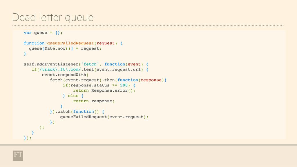 Dead letter queue var queue = {}; function queu...