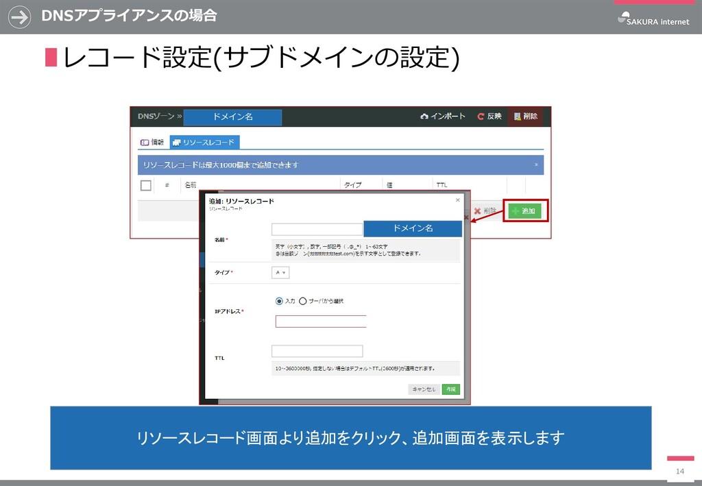 DNSアプライアンスの場合 14 リソースレコード画面より追加をクリック、追加画面を表示します...