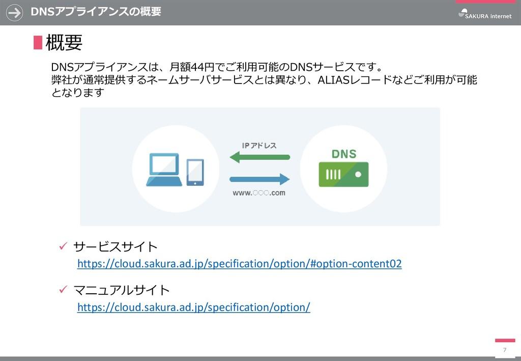 ✓ サービスサイト ✓ マニュアルサイト DNSアプライアンスの概要 7 ∎概要 DNSアプラ...