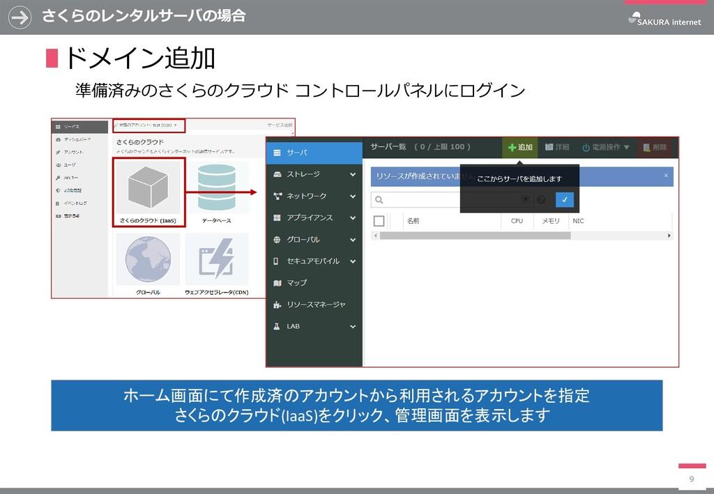 さくらのレンタルサーバの場合 9 ∎ドメイン追加 ホーム画面にて作成済のアカウントから利用され...
