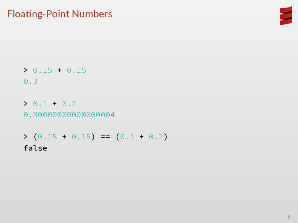 Floa ng-Point Numbers > 0.15 + 0.15 0.3 > 0.1 +...