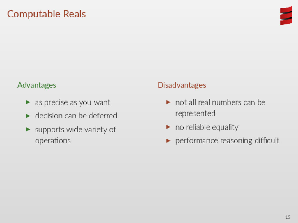 Computable Reals Advantages ▶ as precise as you...