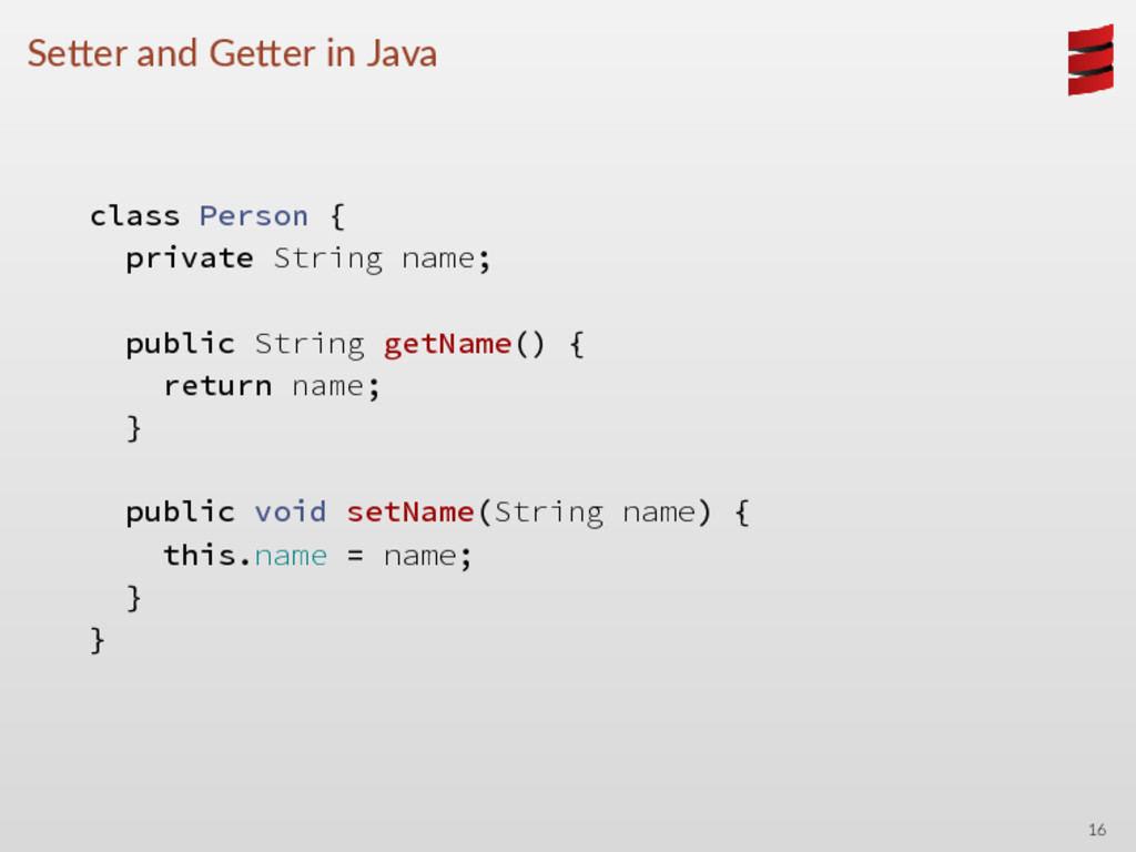 Se er and Ge er in Java class Person { private ...