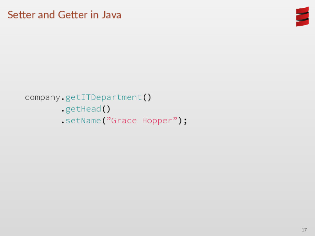 Se er and Ge er in Java company.getITDepartment...