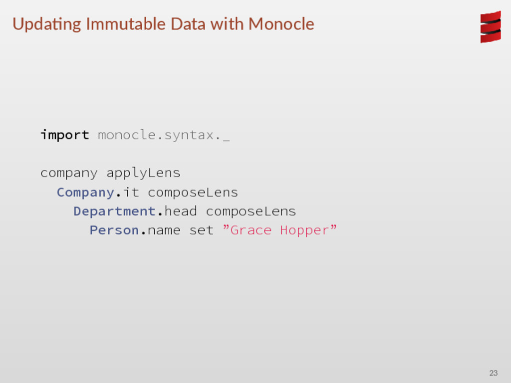 Upda ng Immutable Data with Monocle import mono...