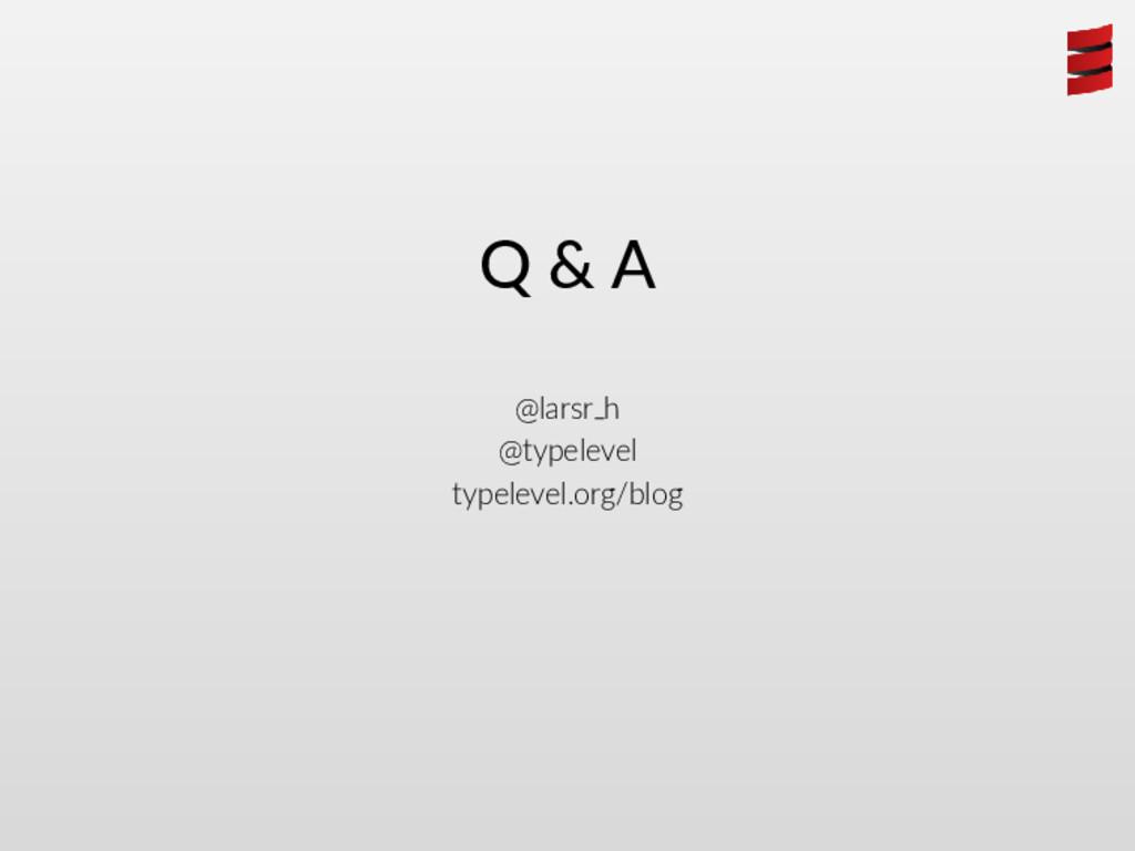 Q & A @larsr h @typelevel typelevel.org/blog