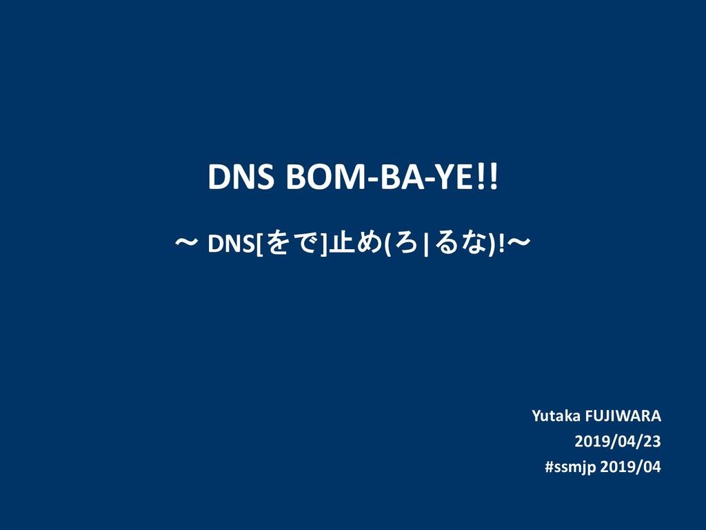 Yutaka FUJIWARA 2019/04/23 #ssmjp 2019/04 DNS B...