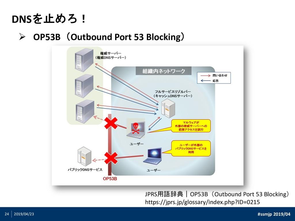 #ssmjp 2019/04 2019/04/23 24 DNSを止めろ! Ø OP53B(O...