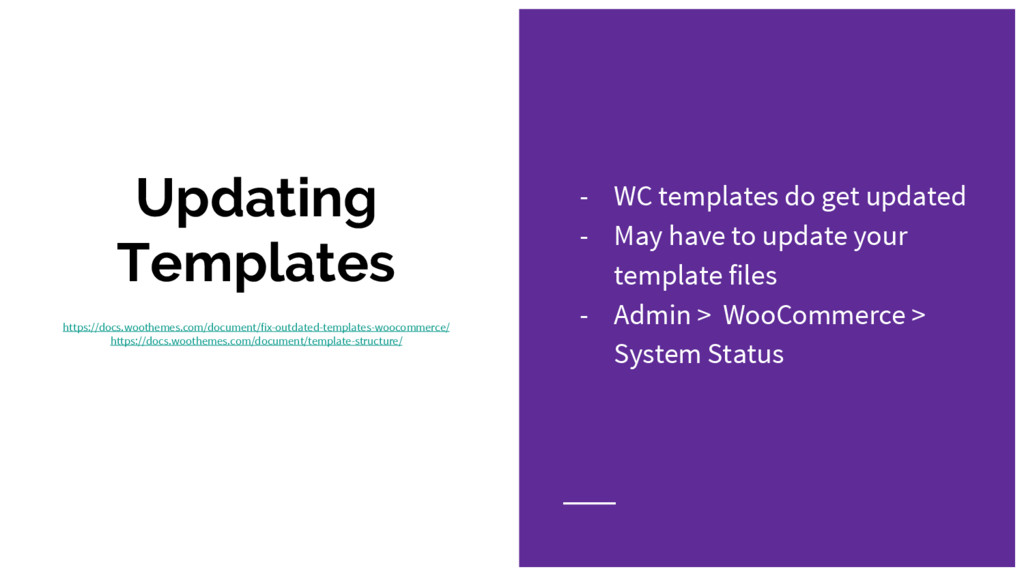 Updating Templates https://docs.woothemes.com/d...