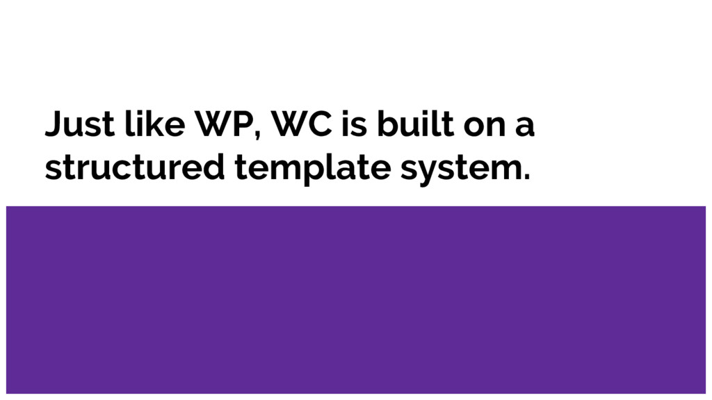Just like WP, WC is built on a structured templ...