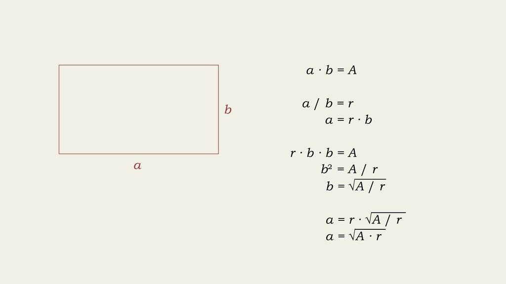r · b · b = A b = √A / r a · b = A a / b = r a ...