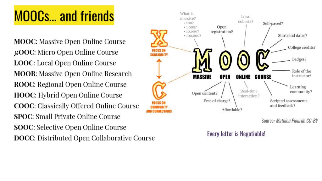MOOCs… and friends MOOC: Massive Open Online Co...