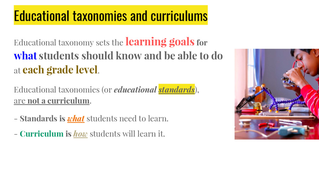 Educational taxonomies and curriculums Educatio...