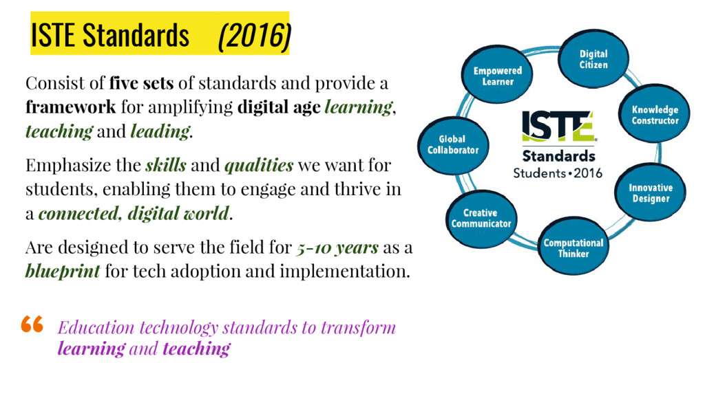 ISTE Standards (2016) Consist of five sets of s...