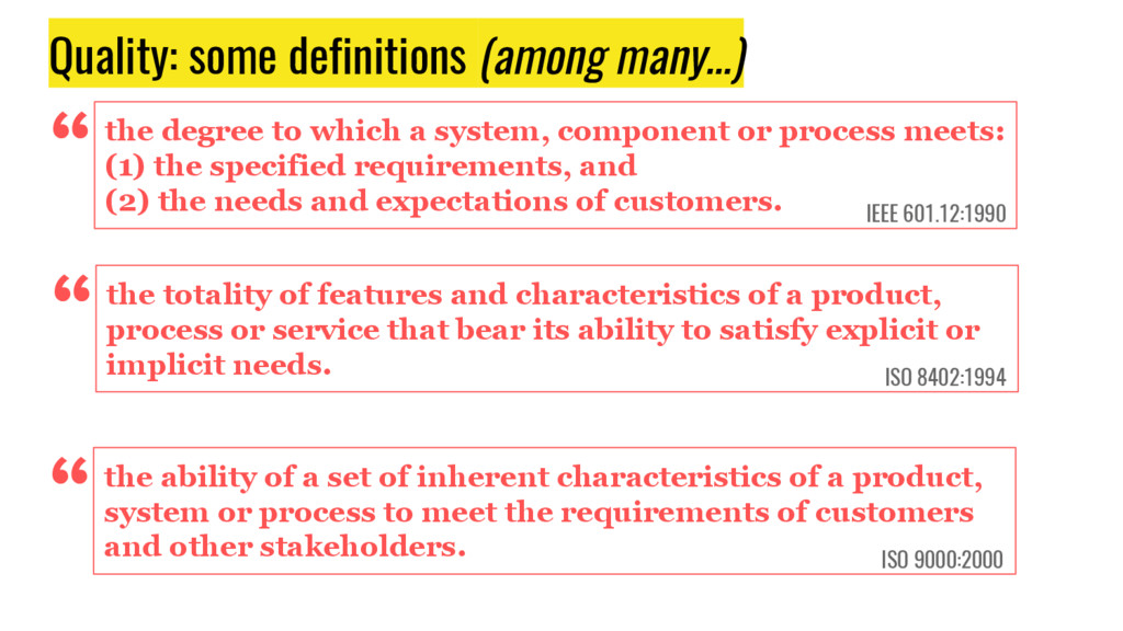 """Quality: some definitions (among many…) """"the de..."""