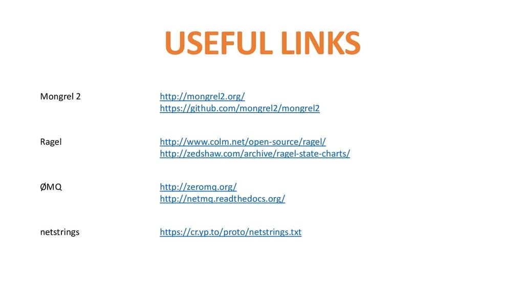 USEFUL LINKS Mongrel 2 http://mongrel2.org/ htt...