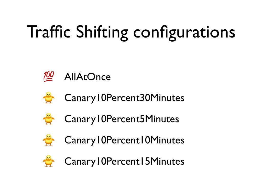 Traffic Shifting configurations AllAtOnce Canary1...