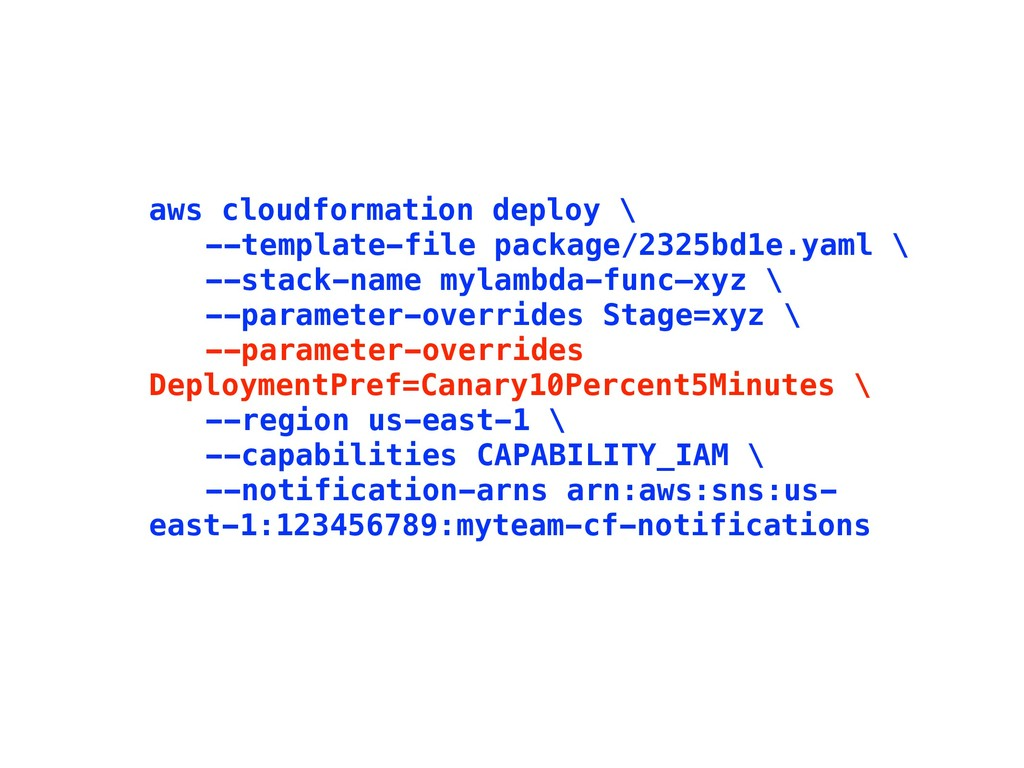 aws cloudformation deploy \ --template-file pac...