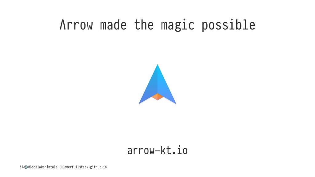 Λrrow made the magic possible arrow-kt.io / ! @...