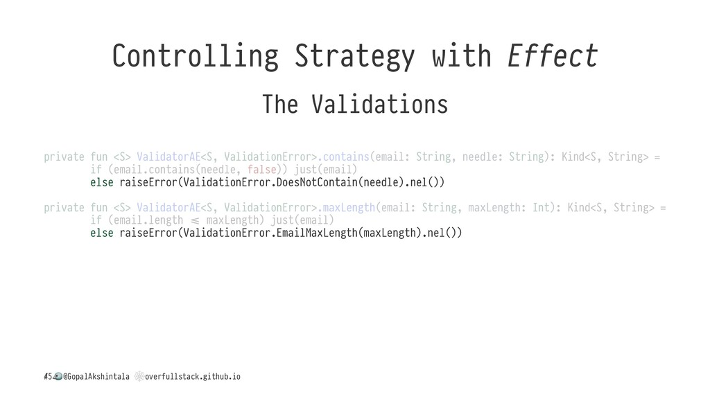 Controlling Strategy with Effect The Validation...