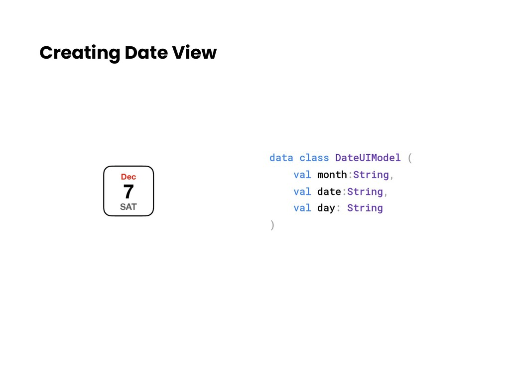Creating Date View Dec 7 SAT data class DateUIM...