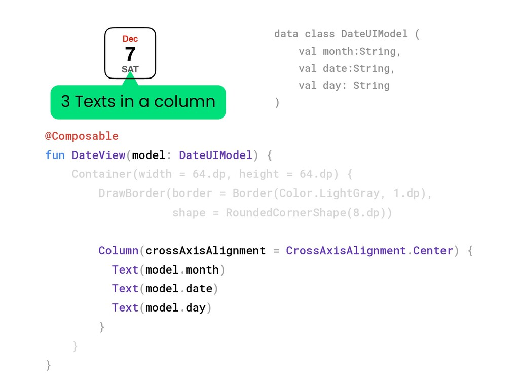 @Composable fun DateView(model: DateUIModel) { ...