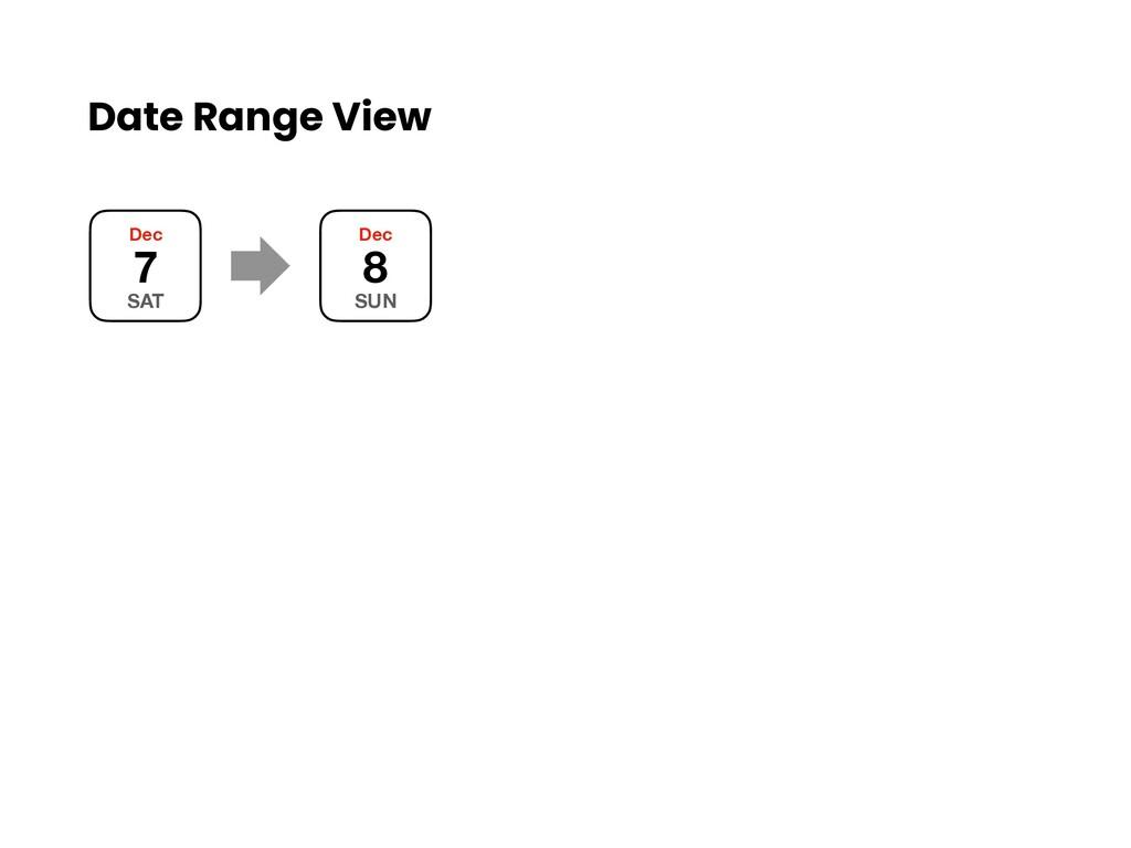 Date Range View Dec 7 SAT Dec 8 SUN
