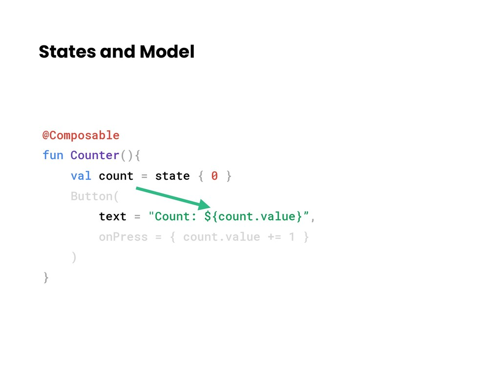States and Model @Composable fun Counter(){ val...