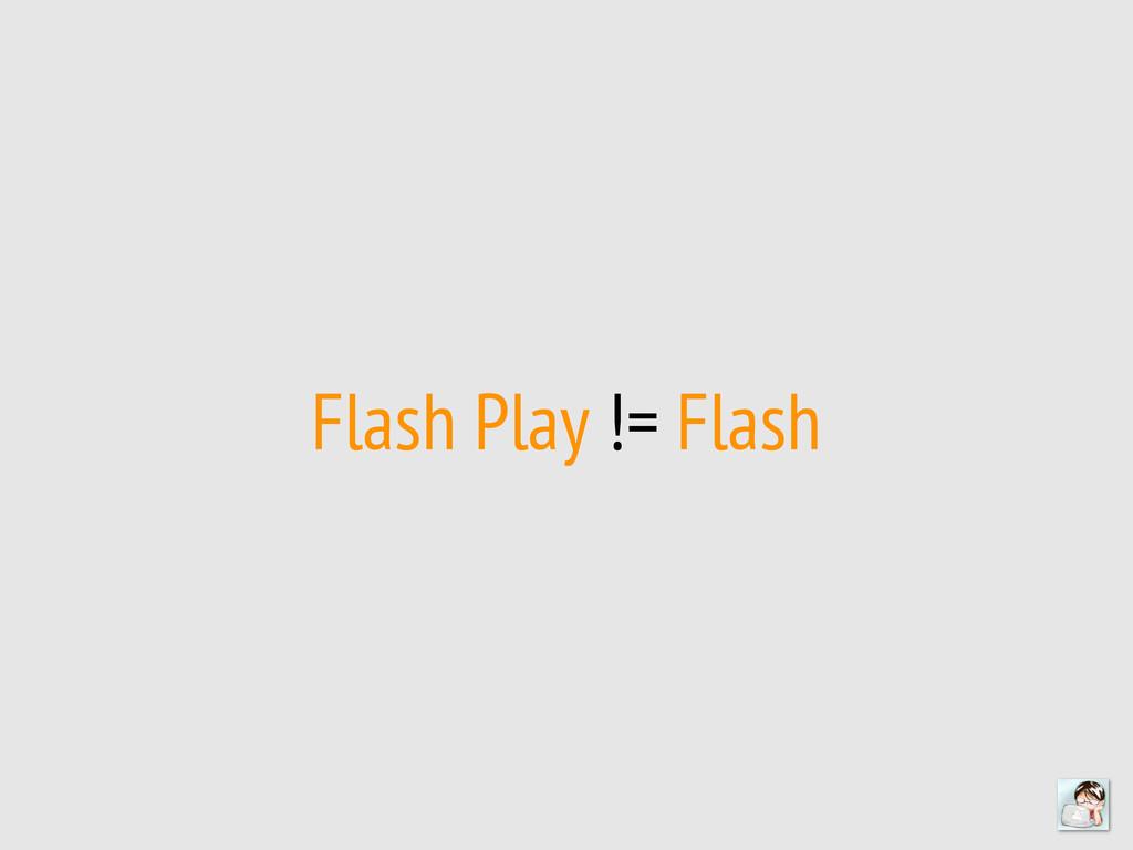 Flash Play != Flash