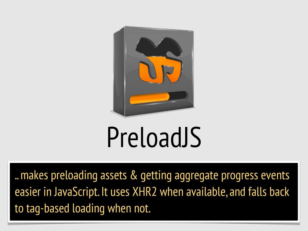 PreloadJS .. makes preloading assets & getting ...