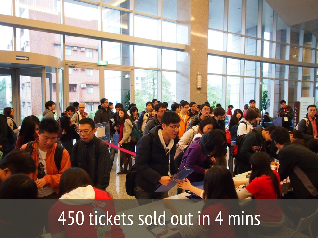 450 tickets sold out in 4 mins