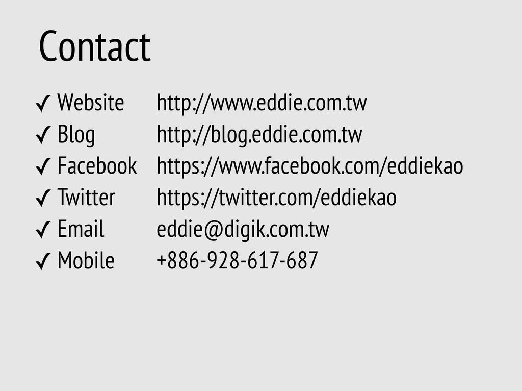 Contact ✓ Website ✓ Blog ✓ Facebook ✓ Twitter ✓...