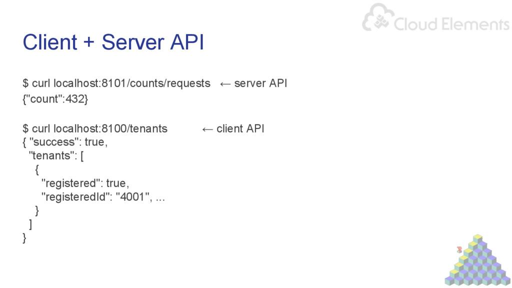 Client + Server API $ curl localhost:8101/count...