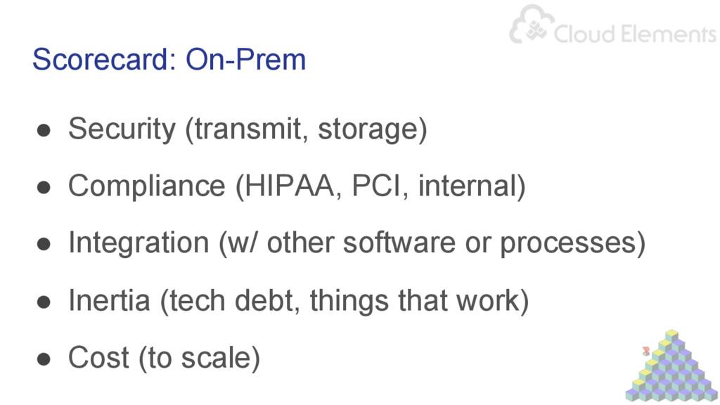 Scorecard: On-Prem ● Security (transmit, stora...