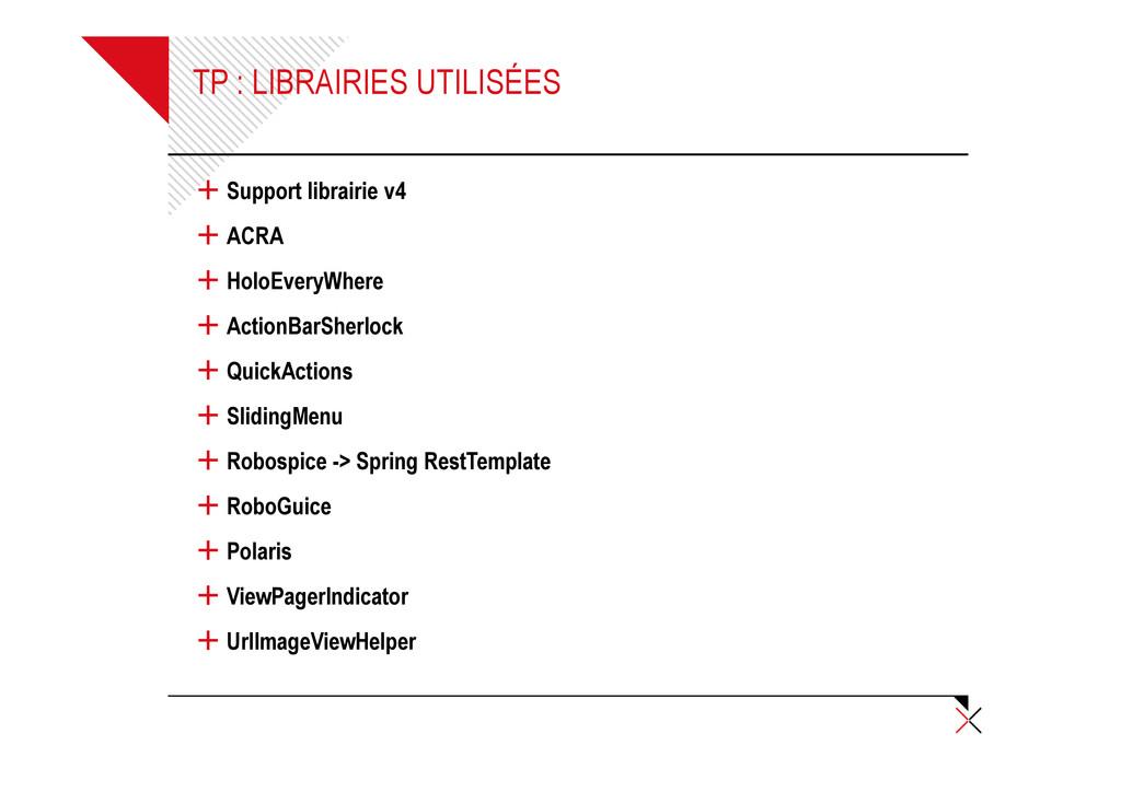 TP : LIBRAIRIES UTILISÉES + Support librairie v...