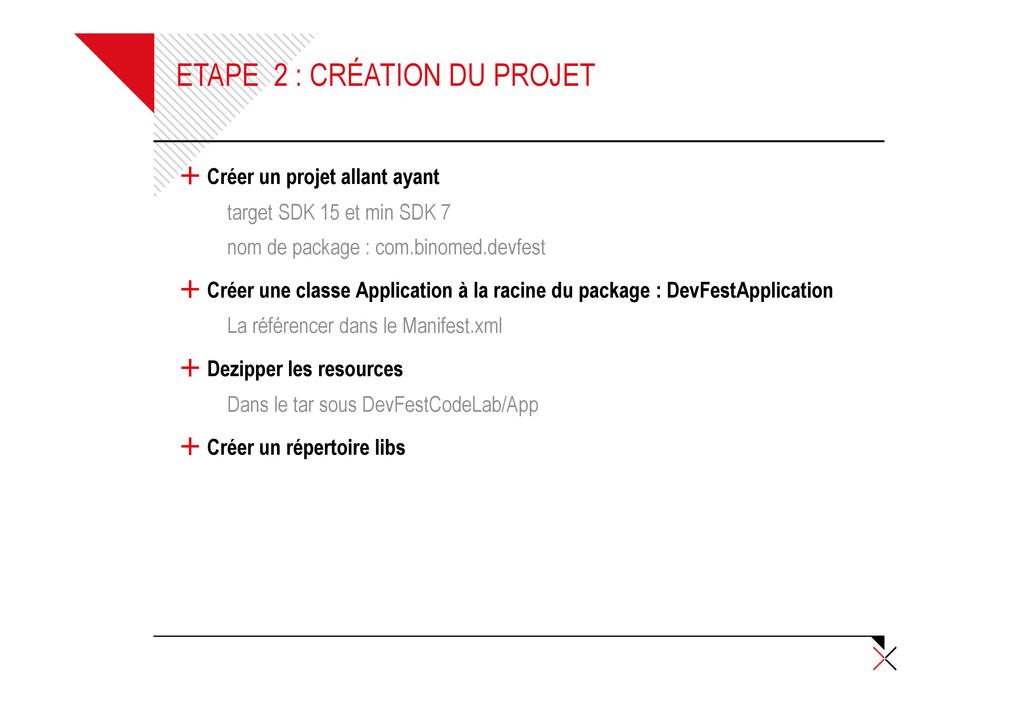 ETAPE 2 : CRÉATION DU PROJET + Créer un projet ...