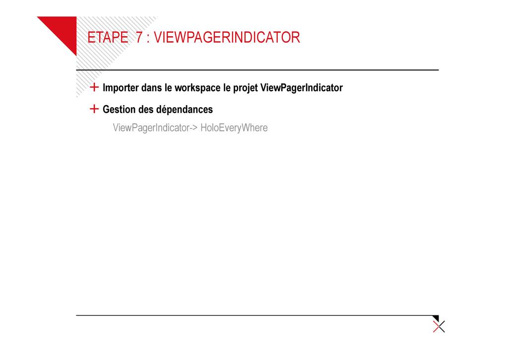 ETAPE 7 : VIEWPAGERINDICATOR + Importer dans le...