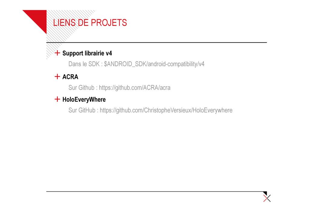LIENS DE PROJETS + Support librairie v4 Dans le...