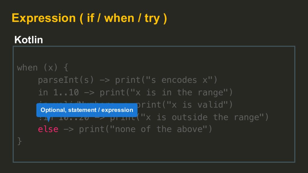 "when (x) { parseInt(s) -> print(""s encodes x"") ..."