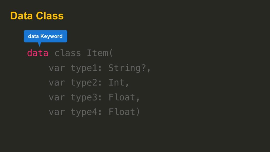 Data Class data class Item( var type1: String?,...