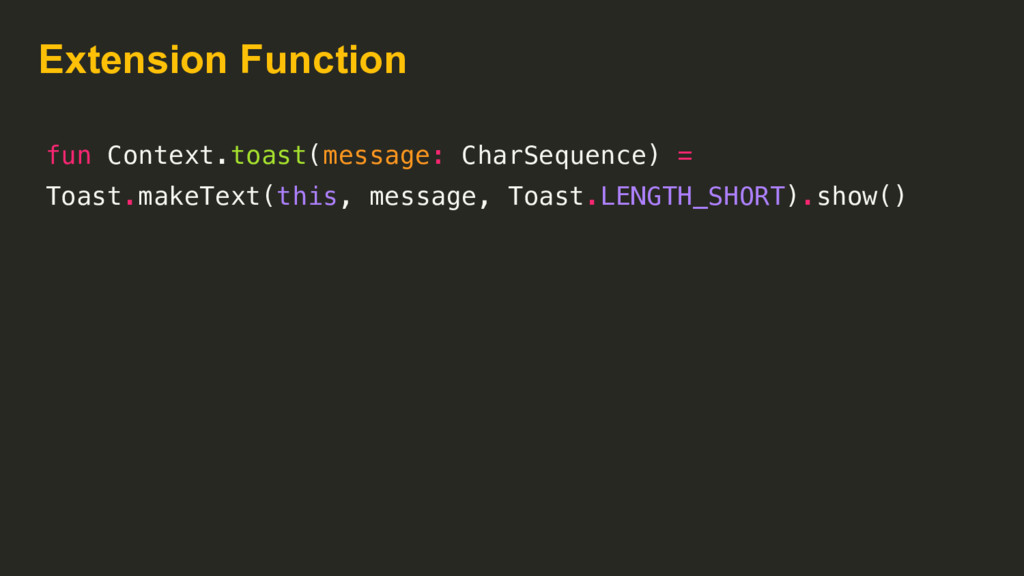 Extension Function fun Context.toast(message: C...