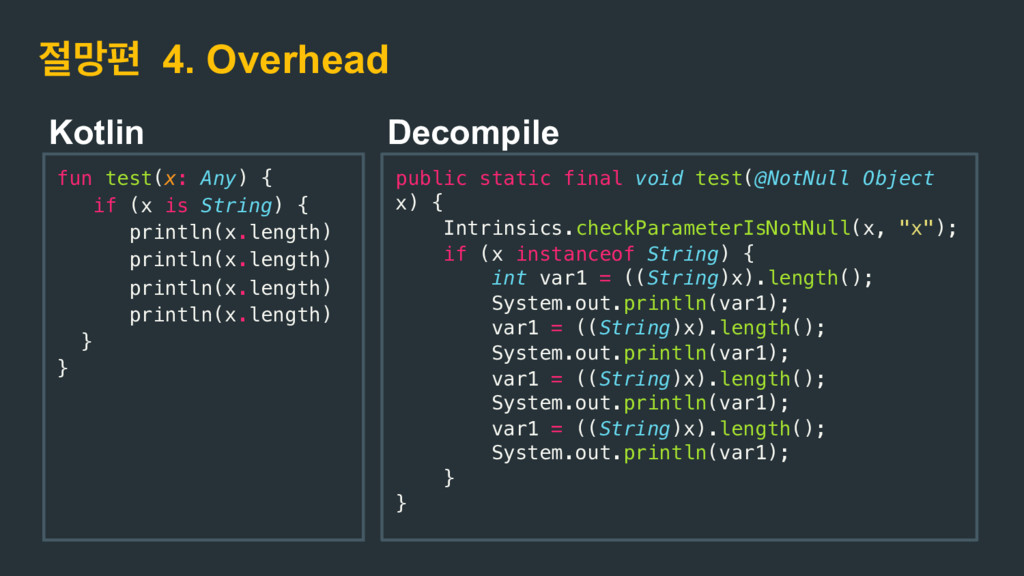 ݎಞ 4. Overhead fun test(x: Any) { if (x is Str...