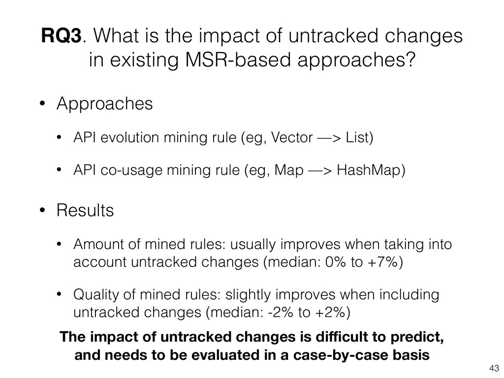 RQ3. What is the impact of untracked changes in...