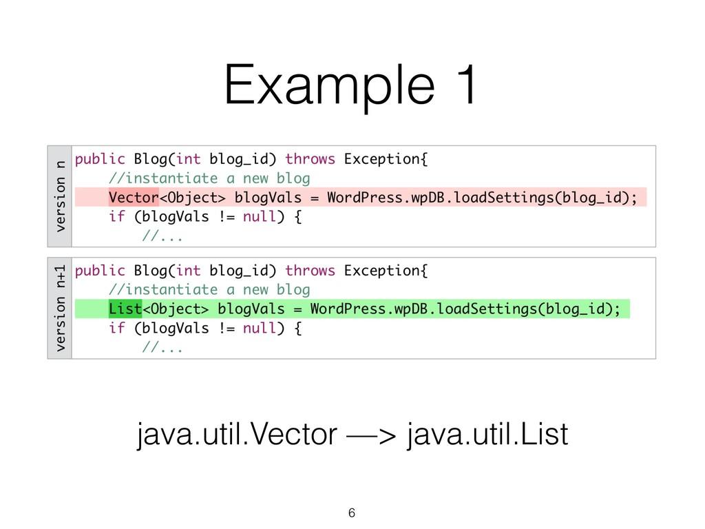 Example 1 java.util.Vector —> java.util.List 6