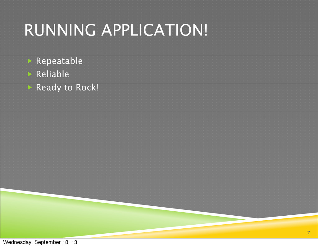RUNNING APPLICATION!  Repeatable  Reliable  ...