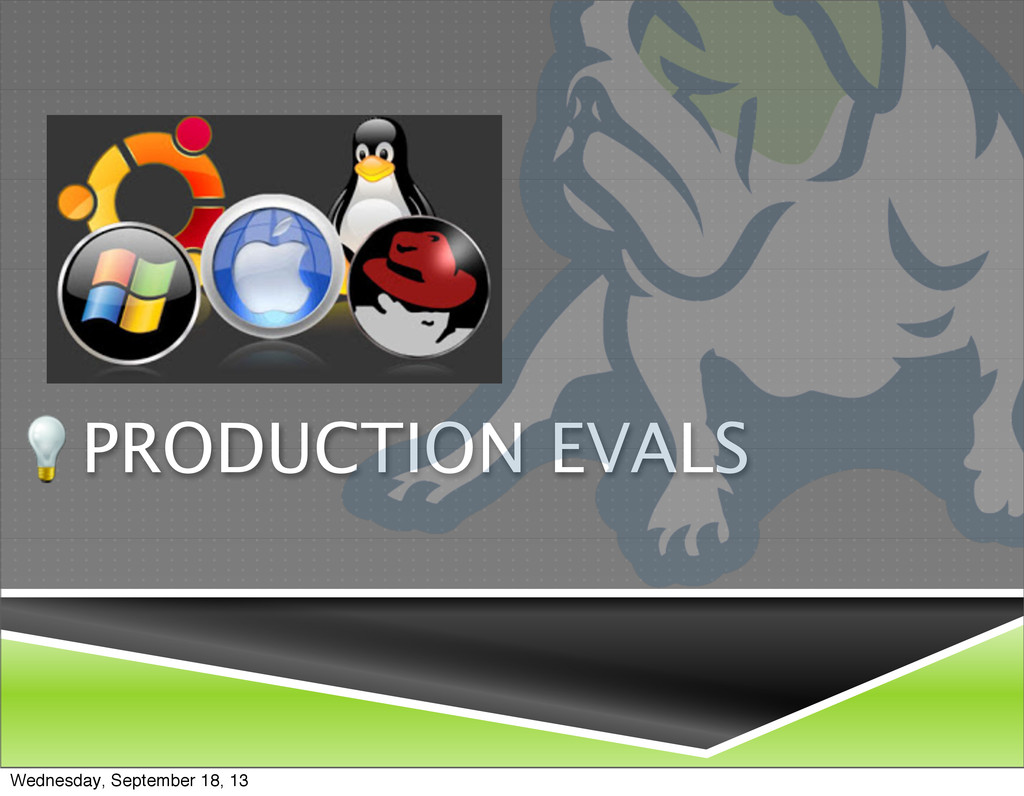 PRODUCTION EVALS Wednesday, September 18, 13