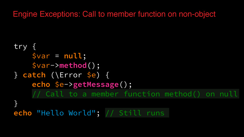 Engine Exceptions: Call to member function on n...