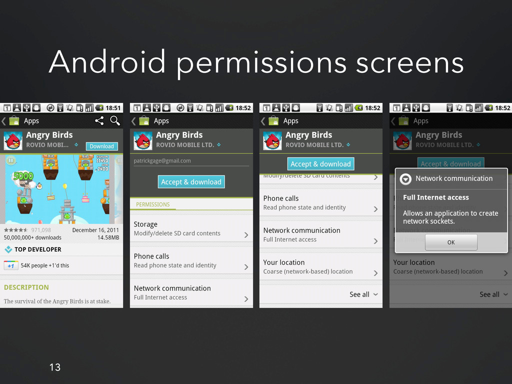 13 Android permissions screens